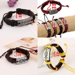 .Direct selling Fashion Christian retro leather bracelet I LOVE JESUS Engraved Alloy Woven Bracelets jewelry Wholesale