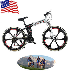 Wholesale US Stock Unisex Inch Speed Mountain Bike Folding Bikes Double Damping Sports Six Spokes Bicycles