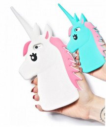 "New 3D Cute Cartoon Unicorn Soft Silicone Rubber Case Cover For iPhone 4 4S 5 5S 5C 6 6S 4.7"" 6 6S Plus 5.5"" White Horse Cases"