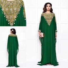 Green Dubai Evening Dresses Chiffon Long Sleeves Gold and Silver Crystals Beading Long Vintage Arabic Muslim Women Kaftans Abaya Vestidos.