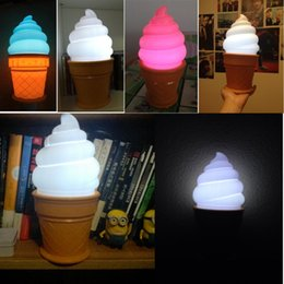 New hot Novelty Ice Cream Cone Shaped Night Light Desk Table LED Lamp Kids Children Bedroom Decor Lights Brand New Pack of 48