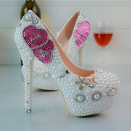 Crystal Pearl Heart Round high-heeled shoes size stiletto heels shoes white wedding shoes bride crystal nightclub female