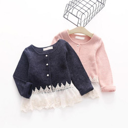 Wholesale Cardigan Sweaters For Children - Stitching lace cardigans long sleeve sweaters knitted clothing for baby kids children Lovely Girl's Sweaters Coats 2016 autumn