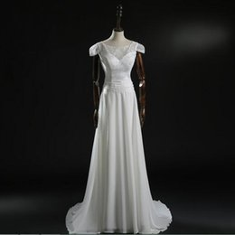 Latest Short Sleeve New Brand A-line Chiffon Wedding Gowns Real Made Custom Made Lace Bridal Gowns Sexy Open Back