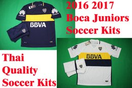 Wholesale Benwon Boca Juniors home soccer uniforms men s short sleeve thai quality soccer jersey Boca away football wear soccer kit sport sets