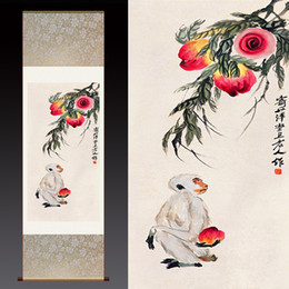 Wholesale Dragon Art Large Size Monkey Peach Tree Fashion Home Decoration Waterproof Ink Painting on Canvas Modern Contemporary Artwork Silk Paintings