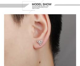 2016 New Fashion Unisex Stainless Steel Men's Earrings Hollow Out Triangle Barbell Studs Earrings Punk Rock Ear Jewelry, Silver Black Gold