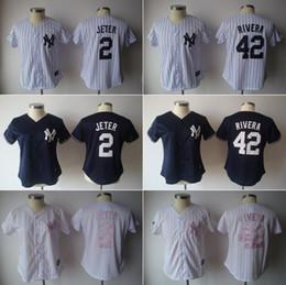 MLB Yankees jerseys 2016 Maillots de baseball pour femme New York JETER # 2 RIVERA # 42 rayure rose marine marine 1pcs freeshipping à partir de nouvelle femme jersey fournisseurs