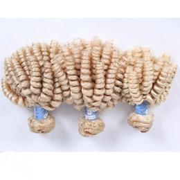 Russian Blonde Aunty Funmi Human Hair Extensions 3Pcs #613 Platinum Blonde Virgin Russian Romance Curls Funmi Human Hair Weave Bundles