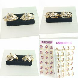 Wholesale Deluxe wedding couple Earrings party AAA zircon crystal CC K color champagne fashion brand jewelry women a04