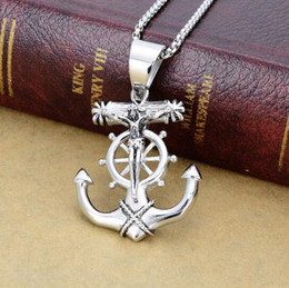 """Wholesale Silver Biker Necklace - High Quality Silver Casting Biker religious anchor Cross design 316L stainless steel Necklace With free 3mm 24"""" Box Chain"""
