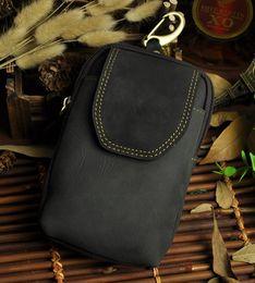 KISSUN Factory Pure Leather Small Men Bag Crazy Horse Leather Quality Men Bags Cellphone Waist Bag Camera Bag Wholesale