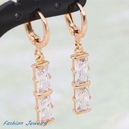 Attractive fine jewelry ! 18K Yellow gold plated white CZ stones Earrings Fashion Jewelry (DANA E173)