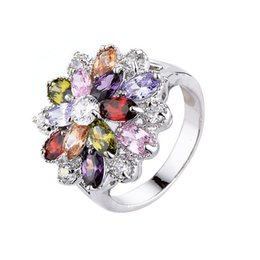 Brand Flower Gemstone Rings 18K Real Gold Plated Statement Women Silver Engagement Rings Austrian Crystal Rings