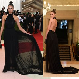 Wholesale evening dresses long Taylor Hill Black Tulle Sexy Open Back Halter Red Carpet Dress MET Gala Court Train formal dress