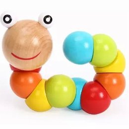 100Pcs   set New Wooden Toys Variety Color Caterpillars Shilly Insects Educational Toys Exercise Your Baby Finger Flexible toy for kids