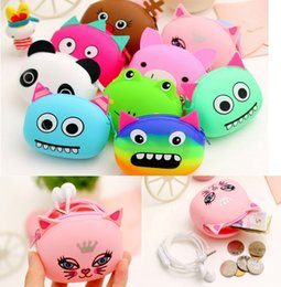 Wholesale 3D Cartoon Animal Candy Colored Girls Coin Bags Women Key Wallets Children Cute Cartoon Mini Coin Purse for Earphone Headphone BB