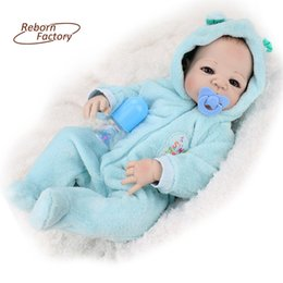 Wholesale-22 inches Full Vinyl Reborn Babies Doll With Blue Eyes Fashion Boy Realistic Dolls Gift For Birthday Full Vinyl Boy Baby