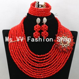 Free Shipping African coral red Beads Wedding Jewelry Set African Costume Nigerian Crystal Beads Jewelry Set Wholesale for wedding party G01