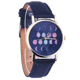 Wholesale 2016 Fashion Moon Phase Astronomy Space Watch Casual Leather Strap Women Quartz Watches for Wedding advertising promotions employee benefits