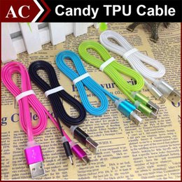 Wholesale 1m ft Candy Color Metal Flat Micro USB Data Sync Cable Charging Line Noodle Transfer Charger Adapter For Smart Phone Samsung S6 S7 HTC LG