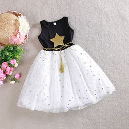 Baby girl sleeveless dress Kids shiny five-pointed star Summer clothes with belt Princess lovely lace dress