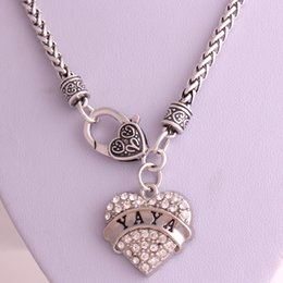 Drop Shipping New Arrival rhodium plated zinc studded with sparkling crystals YAYA heart pendant wheat chain necklace