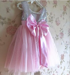 Wholesale girls dress sequins Leak back bow girls tulle dress cute european style kids party dresses y children costume