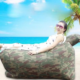 Wholesale Factory Lazy Sofa Inflatable Air Sleeping Bags Camping Bed Hangout Bean Bag Lounger Air Bags Sleeping Beach Bed Banana Lounge Bag with free