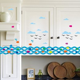 Wholesale Spray anchor line fish The sitting room balcony waist line Fashion simple wall stickers Indoor wall stick