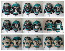 Wholesale San Jose Sharks Hockey Men Jerseys Pavelski Marleau Logan Couture brent burns Thornton Hockey Hoodie Hooded Sweatshirt Jackets