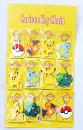 Wholesale New Sheets Pocket Monsters Double Faced Pikachu Eevee Snorlax Lapras Torchic Ash Poke ball Silicone keychain Action Figure Toys PVC K