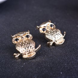 Small animal brooch Cartoon owl brooch Suit collar pin Blouse pin With jewelry Korea retro alloy natural Unisex plating