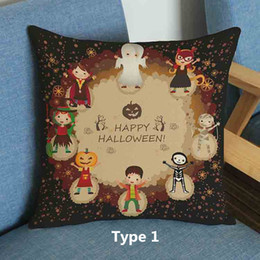 Halloween festival cute Cartoon Skull pumpkin witch Ghost Skull fearful printed pillow Home Sofa linen cotton velvet cushion cover 45*45cm