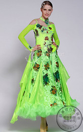 Green colorful flower embroidery flower customize Fox trot ballroom Waltz tango salsa Quick step competition dress