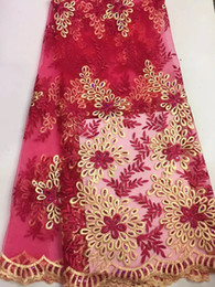 Hot sale red African mesh lace with beautiful flower pattern,french net lace for party clothing DN6-1,5yards pc