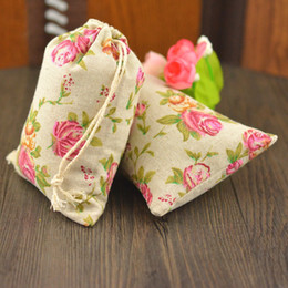 Rose Design Cotton Linen Bags Jewelry Packaging Pouches Hand Made Wedding Favor Holder Festive Parties Supplies