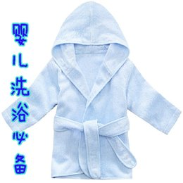 Wholesale Baby Essential Anti microbico Bamboo Fiber Baby Bathrobe Solid Color Hooded Pajamas M Baby Purified Cotton Comfort Sleepwear
