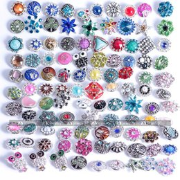 50PCs Rhinestone Snaps Chunk Press Buttons 12mm For Snap Jewelry Making Colorful Designed Glass Snap Button Chunk Charms E581L