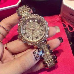 Luxury Rhinestone Shine Watches Women Ladies Dress Crystal Decor Analog Display Metal Band Watch Quartz Wristwatch Halloween Christmas Gifts