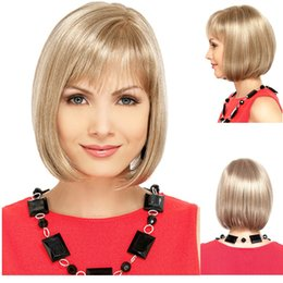 Lovely cute cheap short straight grey and blonde bob synthetic hair wigs with bang for white women on sale