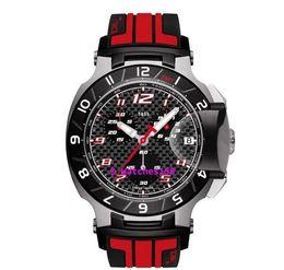 Free Shipping Men's T048 Quartz Watch T048.417.27.207.01 T-Sport T-Race MotoGP Black Dial Red CHRONOGRAPH T0484172720701
