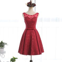 Bateau Neck Lace Cocktail Dresses With Bow Short 2016 Knee Length Party Dress Lace Up Burgundy Color