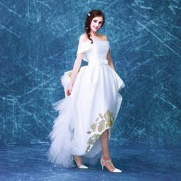 white ruffled golden flowers slash collar stage performance gown Victorian dress party stage performance