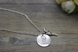 Wholesale hot sale Antique silver plated keep calm and kill zombies charm gun charm pendant necklace