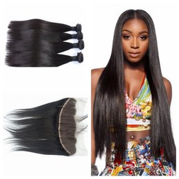 13x4 Full Frontal Lace Closure With 4pcs Mongolian Straight Hair Weave Bundles Natural Black Can Be Dyed G-EASY