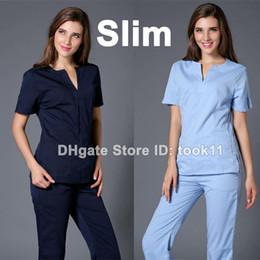 Wholesale uniformes hospital women medical nursing scrubs clothes dental lab coat slim surgical suit medical-clothing summer medical gowns