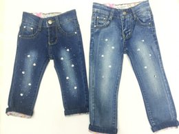 Wholesale Baby Kids Girs Jeans Pants Baby Group MOS T Trousers Elastic Jeans Denim Elastic Waist Hot Drilling Jeans