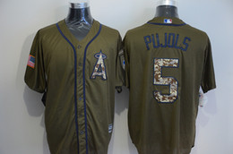 Wholesale Los Angeles Angels Cool Base Jersey Mens Albert Pujols Army Green Camo Letters Baseball Jersey Stitched Name And Number