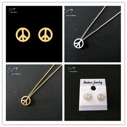Wholesale 10sets Vintage Stainless Steel Peace Sign Pendant Necklace Stud Earrings Fine Jewelry Sets for Women S20